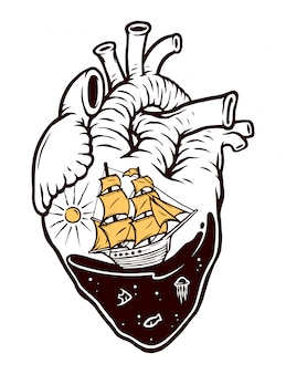 Aventura en el mar en mi corazón ilustración