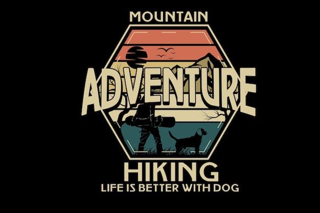 Aventura de montaña senderismo color naranja amarillo y verde