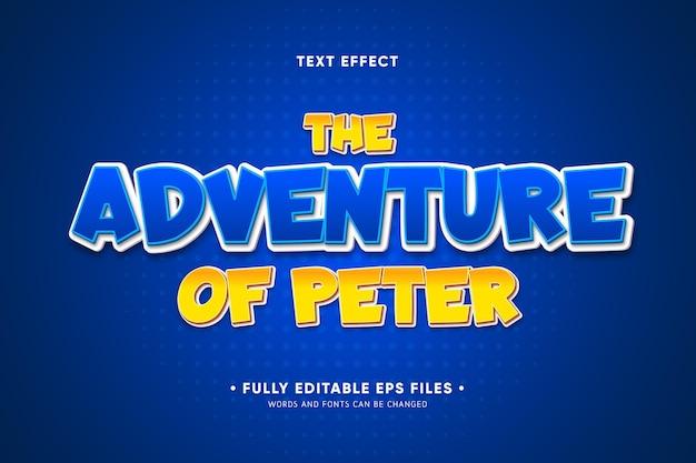 La aventura de peter efecto de texto.