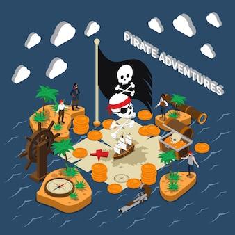 Aventura pirata composición isométrica