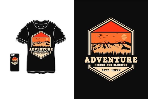 Aventura senderismo y escalada diseño de camiseta silueta estilo retro