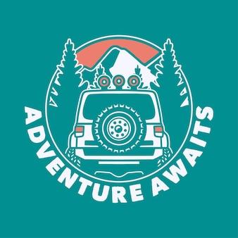 La aventura de la tipografía del lema vintage espera para el diseño de la camiseta