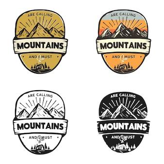 Aventuras de montaña logos, insignias de viaje plantillas parches parches.