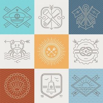 Aventuras, náutica y viajes emblemas signos y etiquetas - ilustración de dibujo lineal.