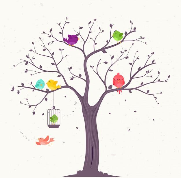 Aves coloridas en hermosos árboles