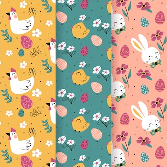 Aves y conejitos felices pascuas colección de patrones sin fisuras