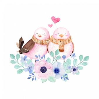 Aves encantadoras en nido floral ilustración acuarela