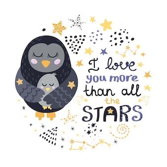 Aves, estrellas y diseño de letras.