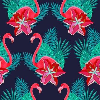 Aves flamencas y hibiscos tropicales flores brillantes follaje tropical.