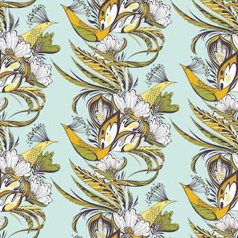 Aves del paraíso sin patrón oriental en azul y amarillo