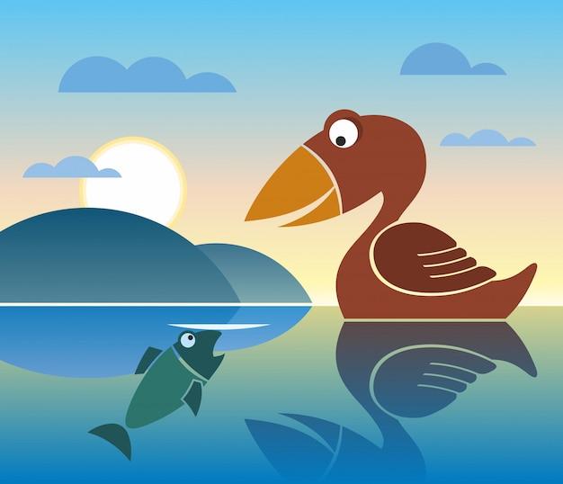 Aves y peces, estilo plano, vector, lago