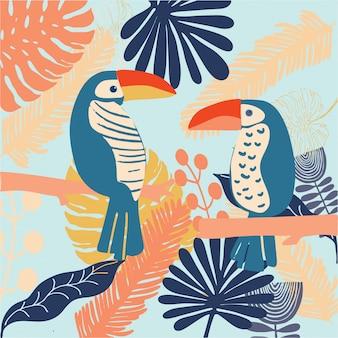Aves tropales tucán colorido y brillante vector.
