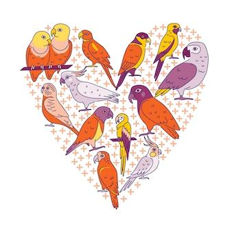 Aves tropicales en el estilo de línea de color en un corazón