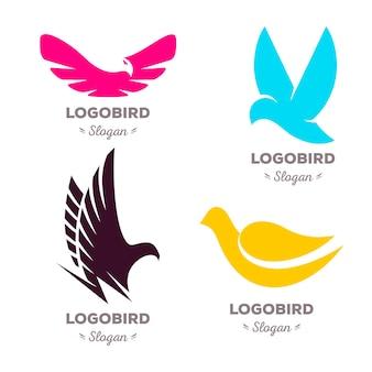 Aves voladoras coloridas aisladas vector logo set colección de logotipos de animales contorno de alas