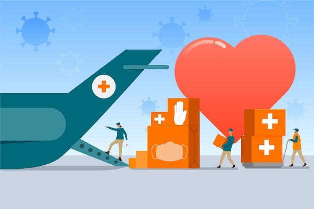 Avión de aire y cajas de salud concepto de ayuda humanitaria