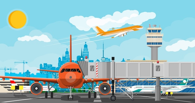 Avión antes del despegue. torre de control del aeropuerto, pasarela, edificio terminal y zona de aparcamiento.