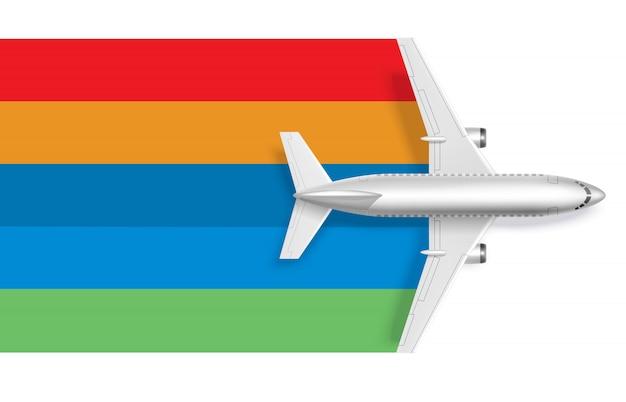 Avión con arcoiris en blanco para texto de mensaje