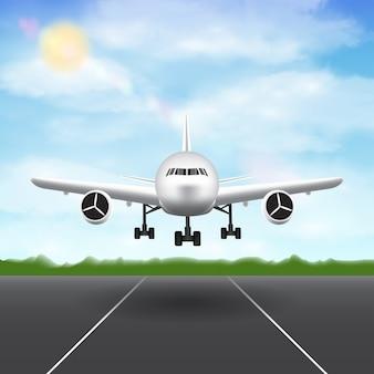 Avión aterrizando en el fondo del cielo de la pista del aeropuerto