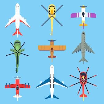 Avión, avión, helicóptero, jet iconos planos de vista superior.