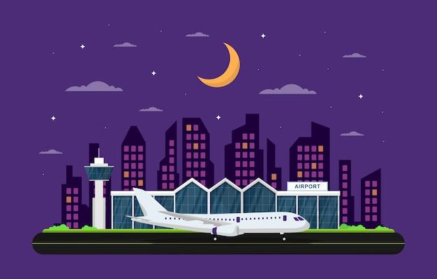 Avión de avión en la pista del aeropuerto terminal building landscape skyline ilustración