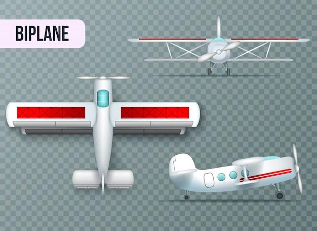 Avión biplano dos alas avión superior lateral y vista frontal realista conjunto fondo transparente sombra