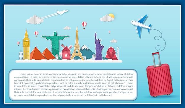 Avión check-in punto de viaje en todo el mundo concepto.