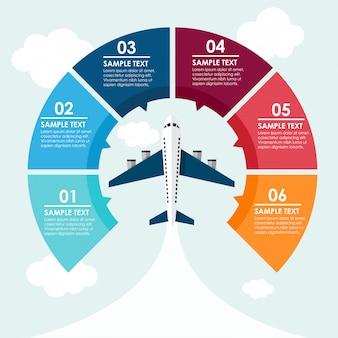 Avión círculo infografía en el cielo.