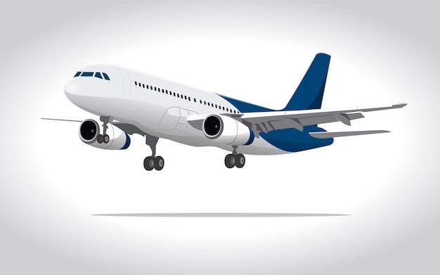 Avion comercial 3d ilustracion