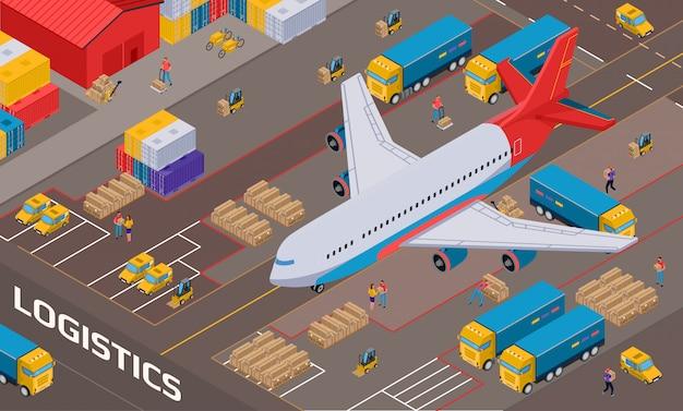 Avión durante la entrega logística en el almacén con vehículos de personal y paquetes isométricos