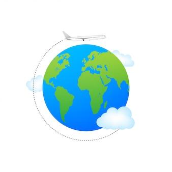 Avión y globo. aviones volando alrededor del planeta tierra con continentes y océanos.