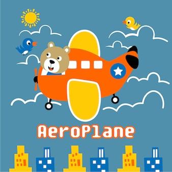 Avión gracioso animal de dibujos animados