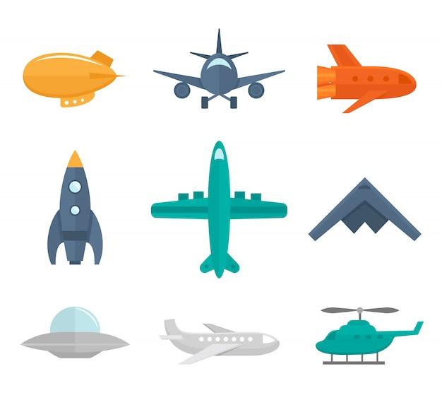 Avión iconos plano conjunto de zeppelin avión combatiente aislado ilustración vectorial