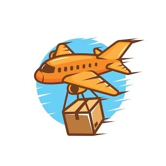 Avión con ilustración de caja de paquete para icono de logotipo