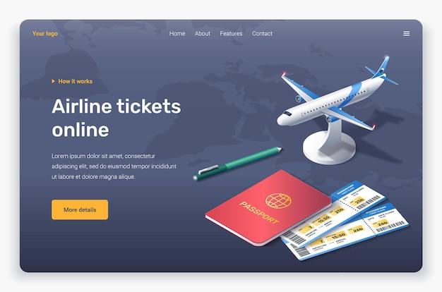 Avión isométrico, bolígrafo, pasaporte y billetes. plantilla de página de destino.