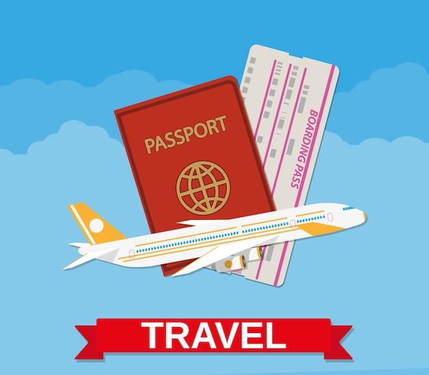 Avión jet, pasaporte y boleto de embarque