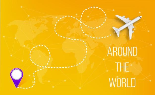 Avión con líneas de ruta discontinua, ruta del cielo del aeroplano.