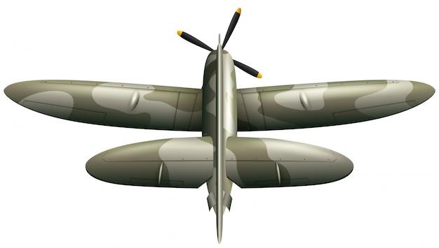 Avión militar en el fondo blanco