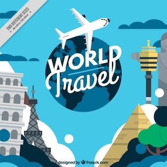 Avión con monumentos alrededor del mundo
