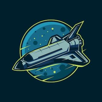 Avión de la nave espacial con diseño de ilustración del planeta