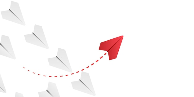 Avión de papel con ilustración de camino propio