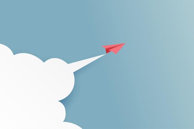 Avión de papel rojo volando en el cielo azul y la nube. estilo de arte de papel de éxito empresarial y liderazgo concepto creativo idea. ilustración vectorial.