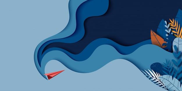 Avión de papel rojo volar fondo azul oscuro