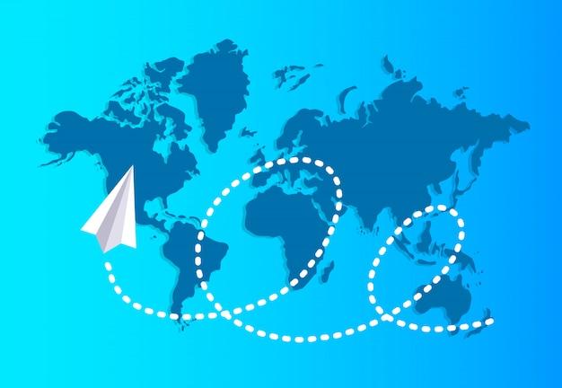 Avión de papel volando sobre un mapa del mundo reserva un rastro discontinuo.