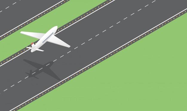 Avión de pasajeros despegue isométrica ilustración vectorial