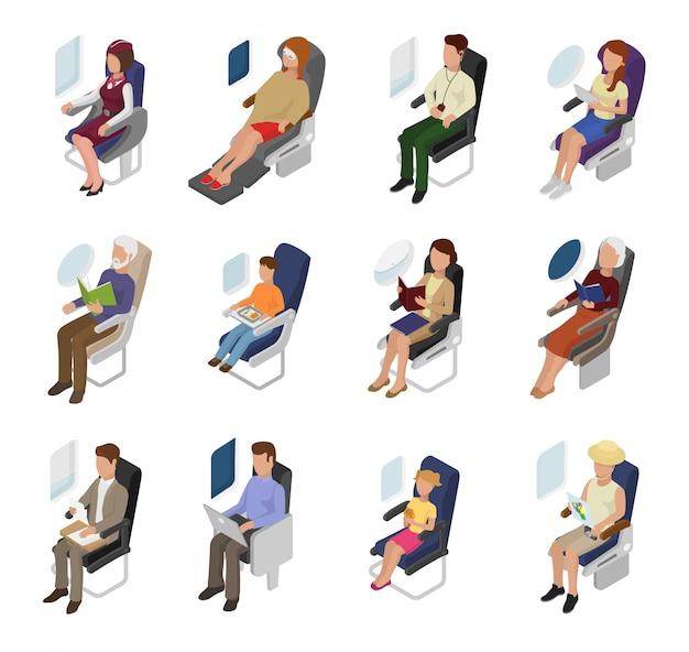 Avión de pasajeros personas empresario mujer personaje sentado en el avión cerca de la ventana ilustración conjunto de vuelo de persona hombre niño a bordo del asiento viajando en avión aislado sobre fondo blanco.