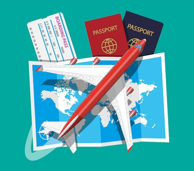 Avión de pasajeros, tarjeta de embarque y pasaporte, mapa