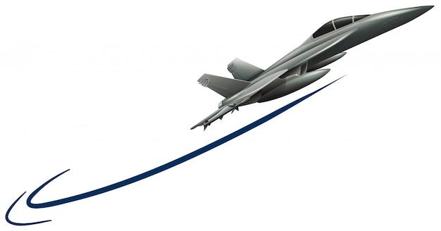 Avión de reacción volando sobre fondo blanco