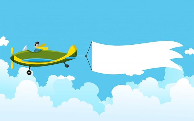 Avión retro con una pancarta. avión biplano tirando banner publicitario. avión con cinta blanca para el área de mensajes. ilustración
