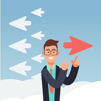 El avión rojo cambia de dirección. diferentes negocios de pensamiento e innovación.