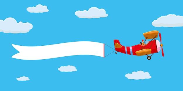 Avión rojo retro con cinta publicitaria en el cielo nublado